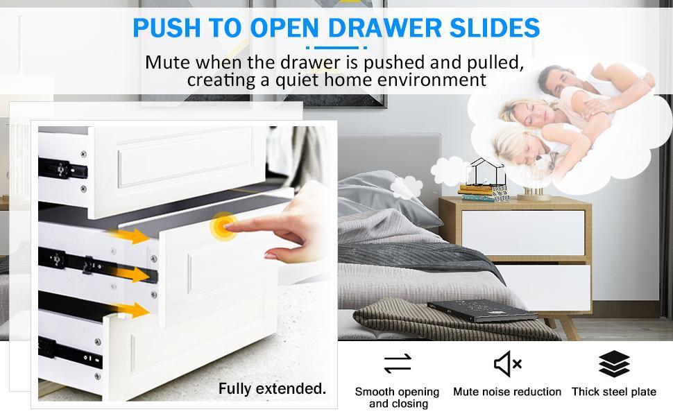 Push to open drawer slides