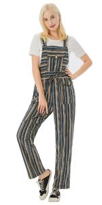 women stripe overalls