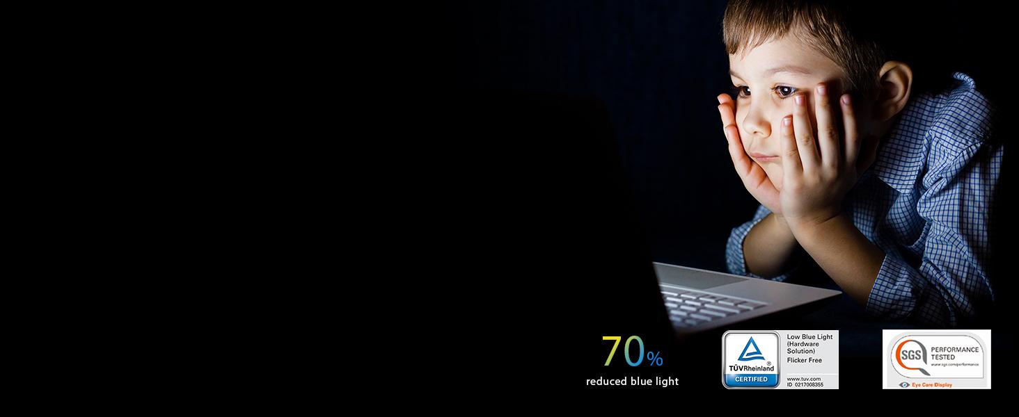 70% blue-light reduction for eye care