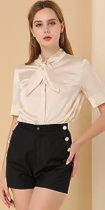 Elegant Tie Neck Silky Office Shirt
