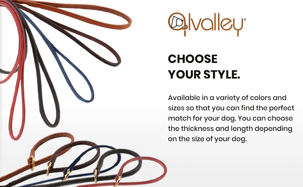 leather dog leash slip lead leather leash long leash for dog training puppy training collar brown
