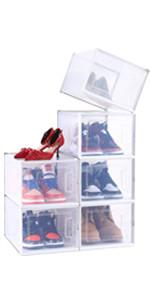 6 Pack Ultra Large Shoe box Storage Containers, White