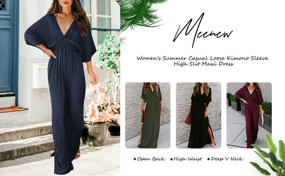 Meenew Long Maxi Dress with Slit