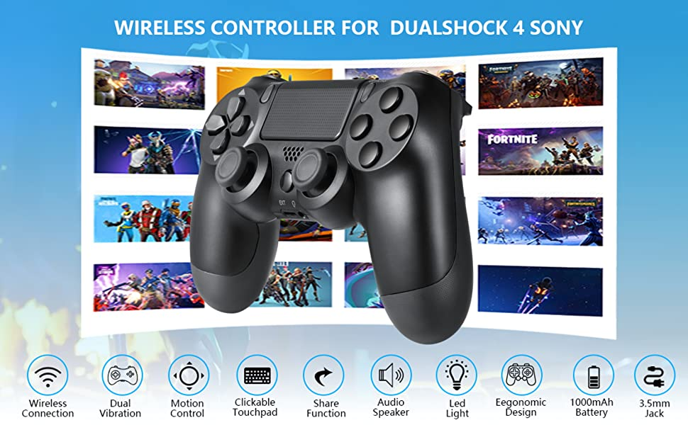 ps4 controllers black with clip