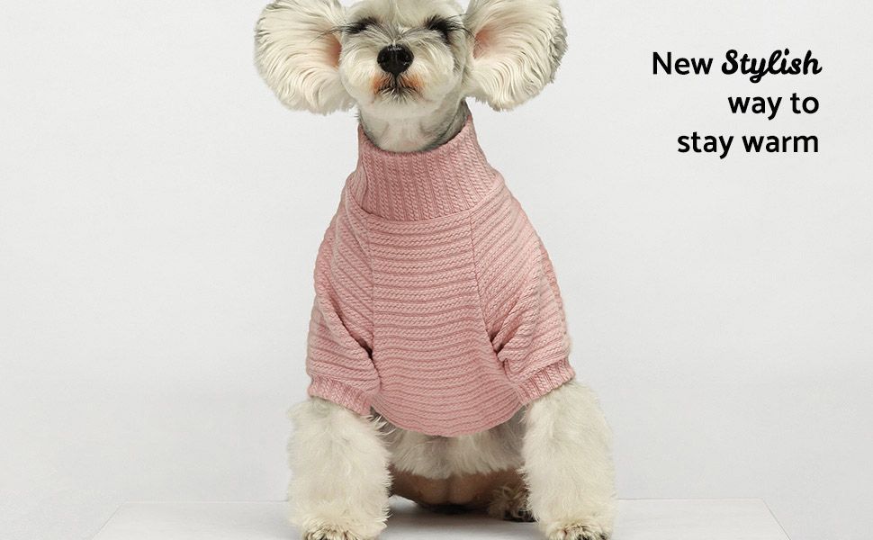 Fitwarm Turtleneck Knitted Dog Sweater Puppy Pajamas Thermal Coat