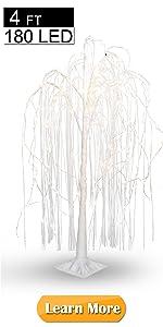 EAMBRITE 4FT 180LT LED White Willow Floor Standing Tree