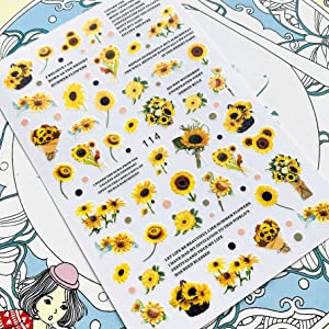 Sunflower Shape Vivid Images Mini Blossom Floral Nail Art Water Decals for Female,nail kits,nails