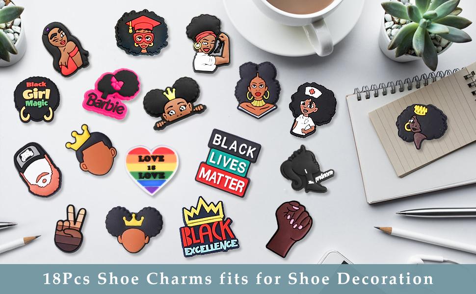black girl shoe charms