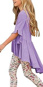 Girls Cute Shirts Summer Fall Ruffle Tunic Tops 3/4 Sleeve High Low Slim Blouses Tee