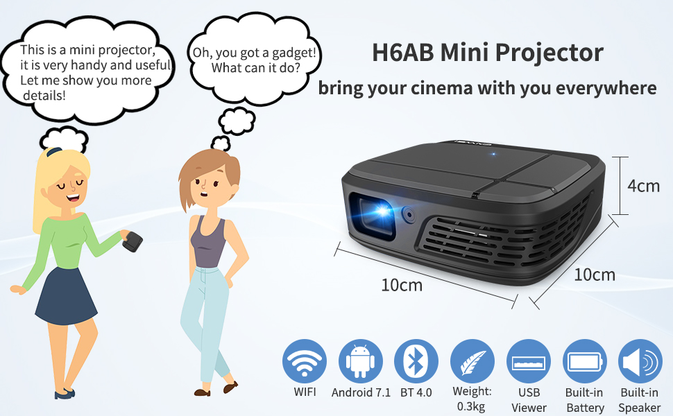 H6AB mini projector, bring your cinema with you everywhere