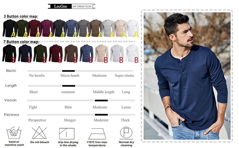 Men's Henley Shirt Long Sleeve Casual Henley Top with 3 Button Regular Fit Basic T-Shirts