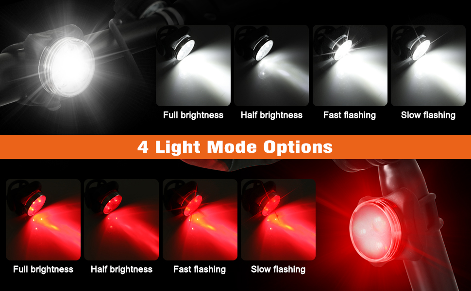 4 Modes - full brightness/ half brightness/ fast flashing/ slow flashing
