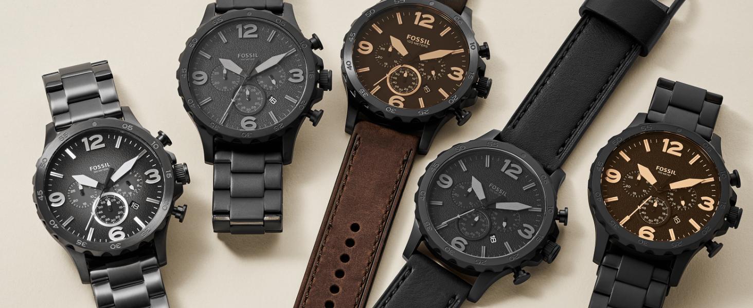Fossil Men's Nate Watch in Silver, Gunmetal, Brown, Black and Matte Black