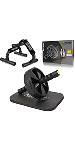 POWER GUIDANCE Ab Wheel Roller with Push Up Bars and Extra Thick Knee Pad