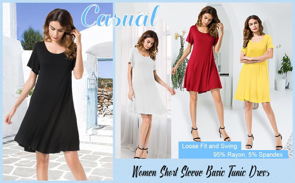 JollieLovin Round Neck Casual Dresses for Women - Various Color Styles for Your Choices