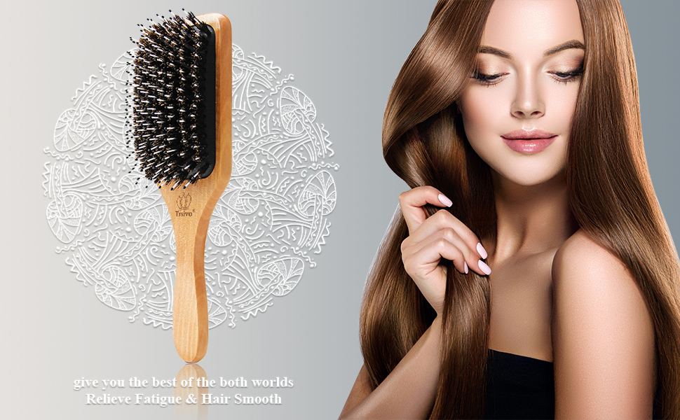 Boar bristle brush can easily pass through normal and thick hair.