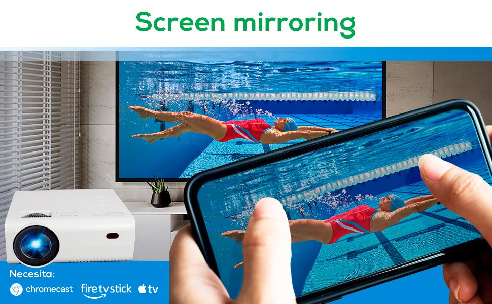 proyector compatible chromecast, proyector compatible firestick, proyector portatil wifi, led