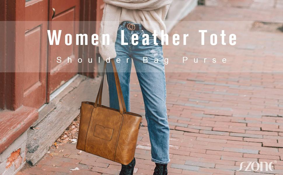 S-ZONE Women Leather Tote Large Shoulder Work Purses and Handbags