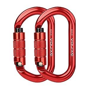 red locking carabiner