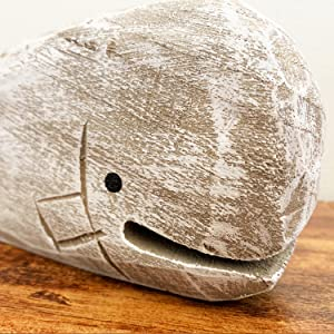 free standing wood whale