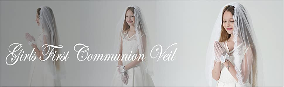 Girls First Communion Veil Mantilla