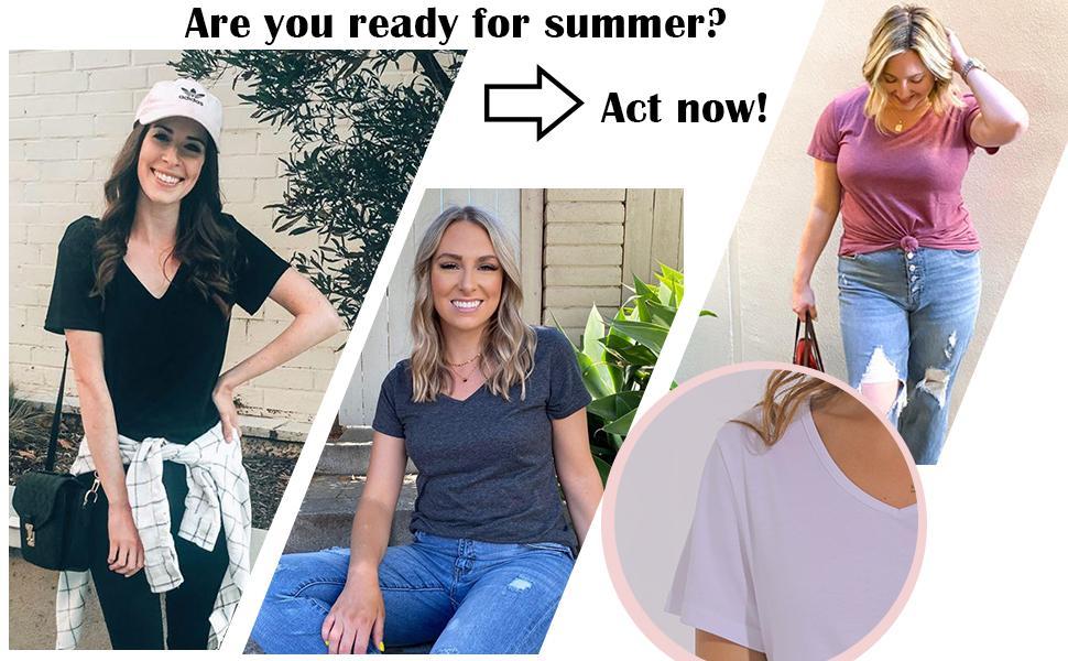 Tshirts for Women Short Sleeve V Neck Tops Plain