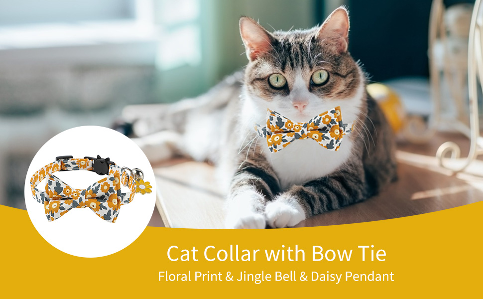 Yellow Cat Collar Floral Cute Bow Tie Summer Daisy Flower Patterns Breakaway Adjustable Safety