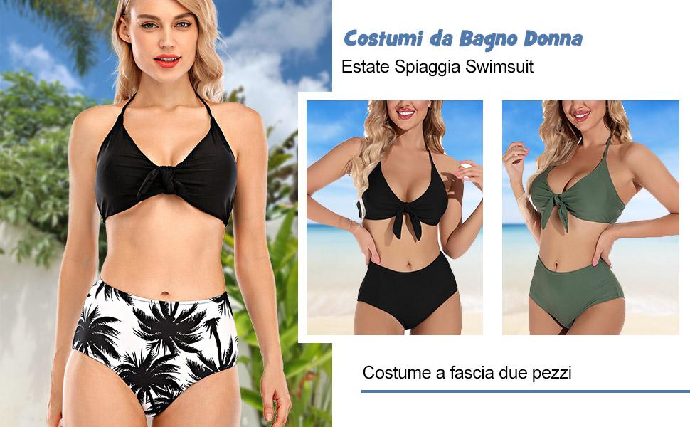 Costumi da Bagno Donna Vita Alta Imbottito Reggiseno Bikini Cinturino Pettorale Due Pezzi