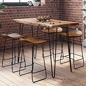 Natureamp;#39;s Edge Live Edge Dining Table with Barstools