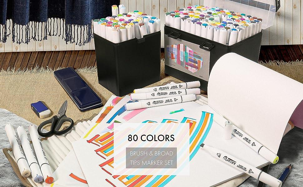 80 Colors Brush amp; Broad Tips Marker Set