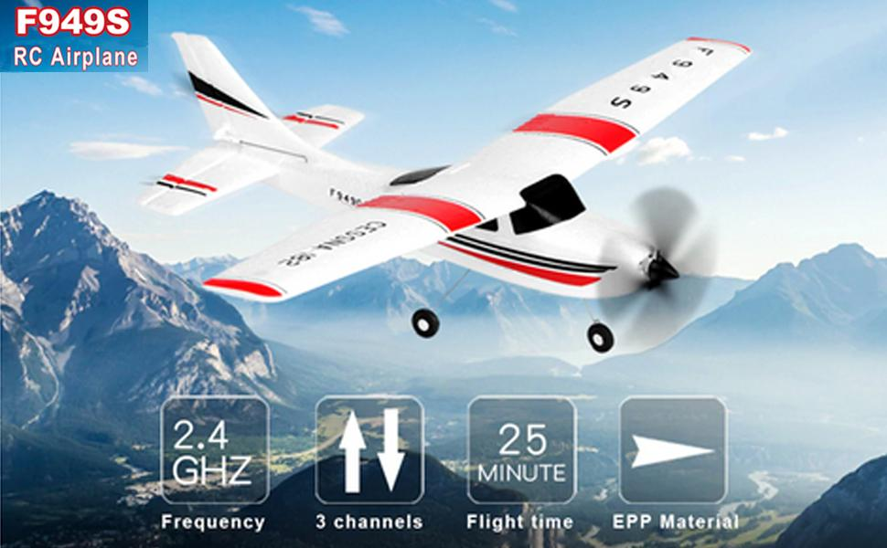 GoolRC WLtoys F949S RC Airplane 2.4Ghz 3CH RC Plane with Gyroscope Easy to Fly RC Aircraft with 2 Batteries for Beginners Kids and Adults EPP Remote Control Airplane