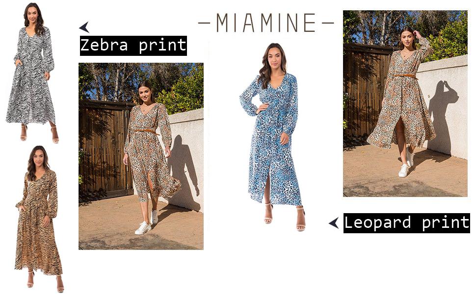 Maxi Dresses for Women V-Neck zebra leopard print Casual long dress with Pockets