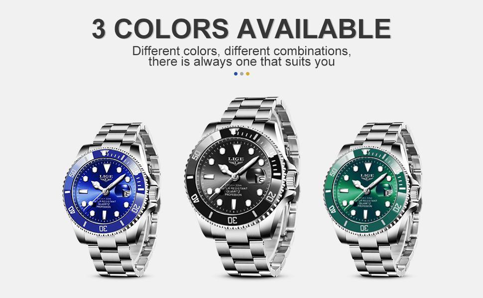 LIGE Mens Analogue Quartz Watches