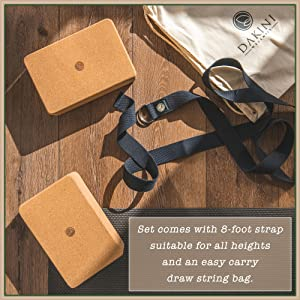 yoga block and strap set with bag