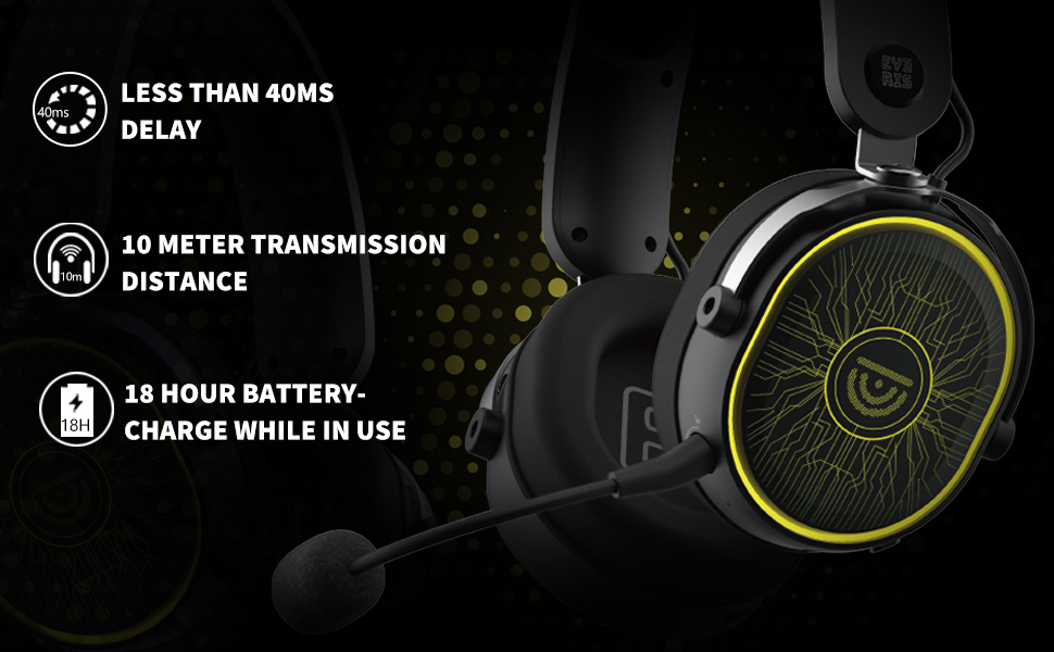 features, low latency, 10 meter transmission, 18 hour battery