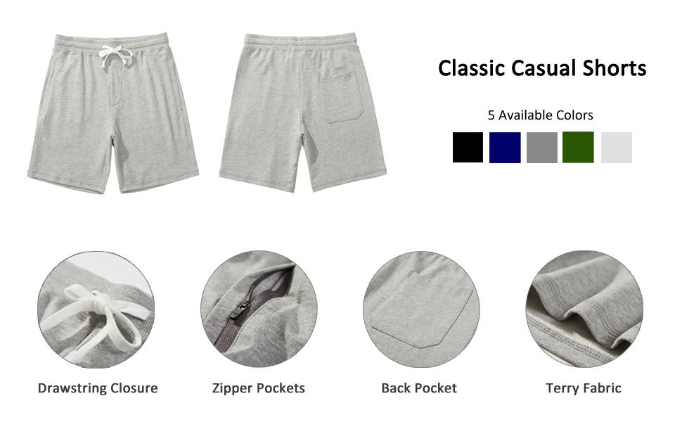 Product Details: Elastic Waist with Drawstring, Zipper Pockets, Back Pocket, Terry Fabric