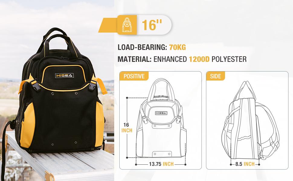 hisea tool bag backpack