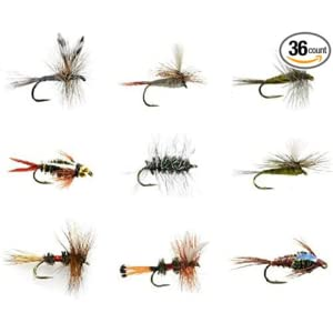 Feeder Creek Fly Fishing Lures, 9 Patterns of Dry and Wet Flies