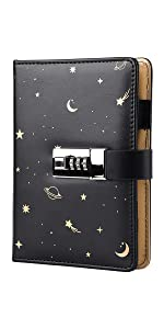 Starry Leather Journal with Lock Refillable Paper Binder Password Diary