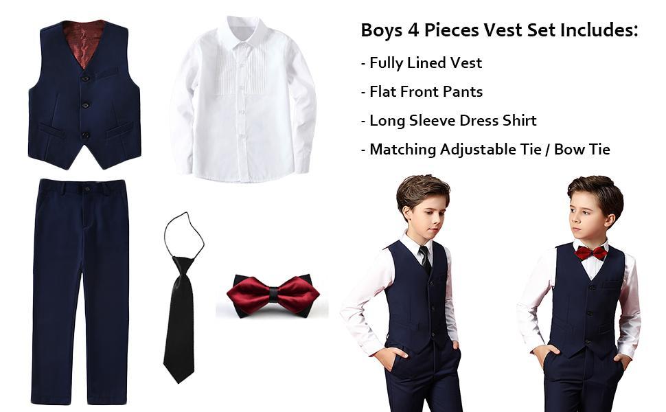 Boys 4 pieces vest set to include vest, pants, dress shirt, tie or bow tie