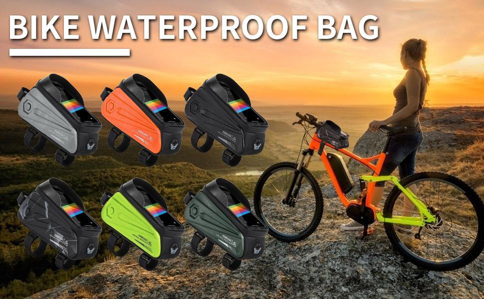 Bike Frame Bag Waterproof, Bicycle Phone Bag Top Tube Bag with Sun Visor Headphone Hole