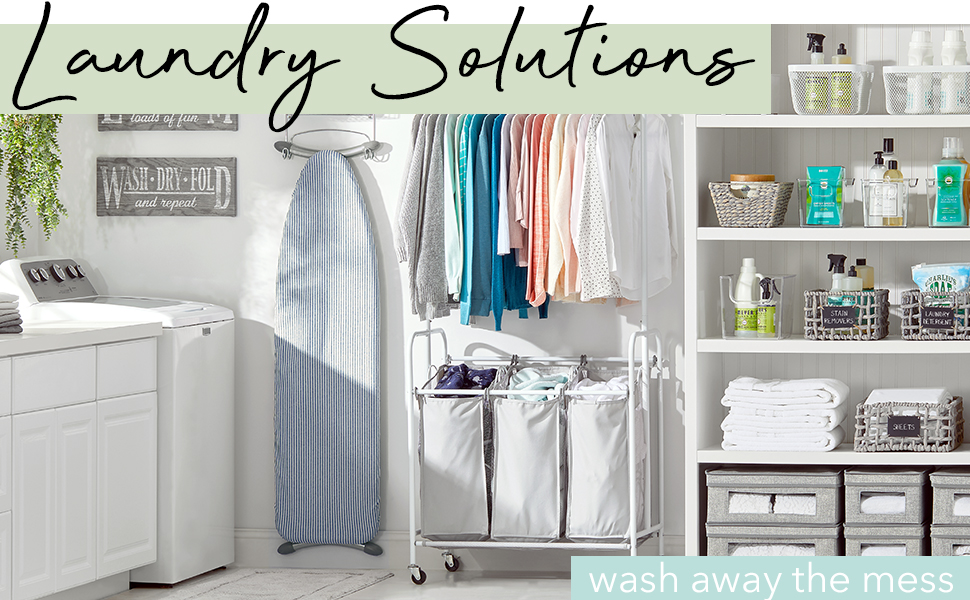Laundry Solutions Heading, washer, ironing board, clothes, hamper, shelves, baskets holding bottles