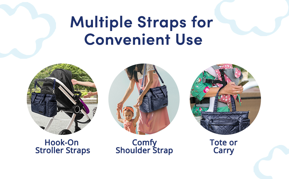 Use our large tote bags for personal and baby essentials.