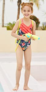 Girls One Piece Floral Swimsuit