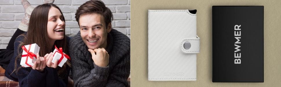 Porta carte e portafoglio idea regalo per lui e per lei di colore bianco Bewmer