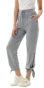 Pantaloni Donna Vita Alta Morbidi con Coulisse Elastica con Fiocco Decorate