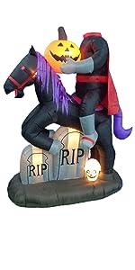 6.5 Foot Tall Lighted Halloween Inflatable Headless Horseman with Pumpkin