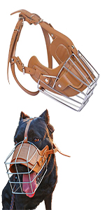 brown metal dog muzzle