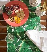 Banana leaf print table runner on patio table