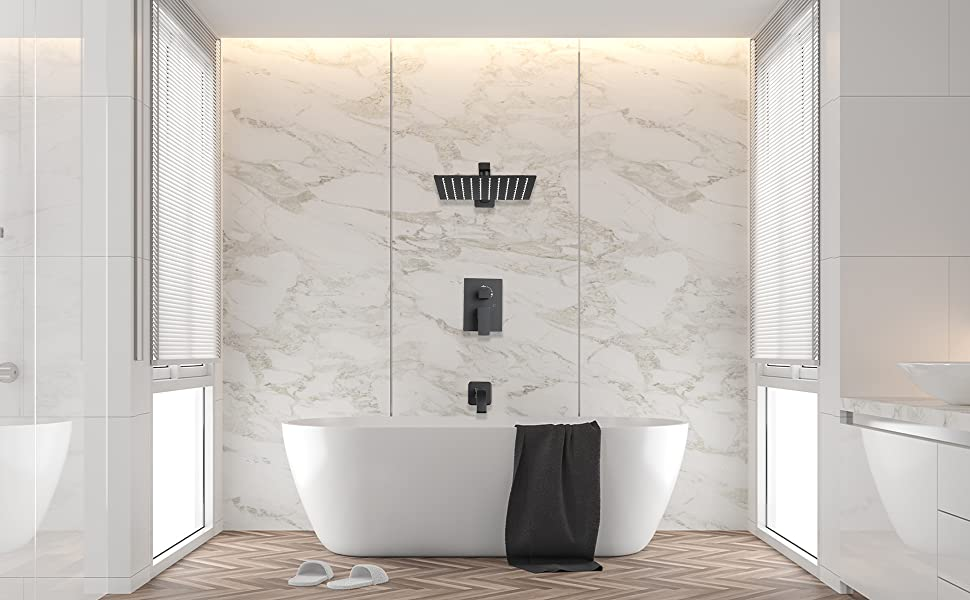 shower system with tub faucet